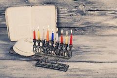 Brightly Glowing Hanukkah Menorah - Shallow Depth of Field. Jewish holiday, Holiday symbol Hanukkah Brightly Glowing Hanukkah Menorah - Shallow Depth of Field Royalty Free Stock Images
