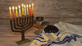 Brightly Glowing Hanukkah Menorah - Shallow Depth of Field. Jewish holiday, Holiday symbol Hanukkah Brightly Glowing Hanukkah Menorah - Shallow Depth of Field stock footage