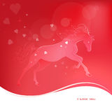 Brightly glowing vector illustration of a galloping horse. Juicy red pink background. I love you. Brightly glowing vector illustration of a galloping horse Stock Photos