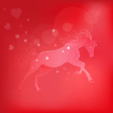 Brightly glowing vector illustration of a galloping horse. Juicy red pink background. love symbol. Brightly glowing vector illustration of a galloping horse Stock Photography