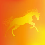 Brightly glowing vector illustration of a galloping horse. Juicy yellow orange background. Brightly glowing vector illustration of a galloping horse. Juicy Royalty Free Stock Photos