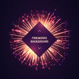 Brightly gold fireworks on purple background. Cube frame with free space for text. Realistic fireworks explosion and shining sparks arranged in circle stock illustration