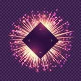 Brightly gold fireworks on purple background. Brightly gold fireworks on transparent background. Abstract composition with free space for text. Realistic vector illustration