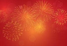 Brightly golden firework on red pink background for celebrating New Year Eve, Chinese s new year,. Brightly golden firework on red pink background for Stock Photo