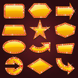 Brightly golden glowing retro cinema neon sign Stock Images