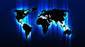 Brightly highlighted abstract world map on a blue grid background. Well-organized layers Royalty Free Stock Photography