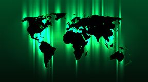 Brightly highlighted abstract world map on a green grid background. Well-organized layers Stock Photography