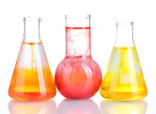 Brightly ink in a flask with water Royalty Free Stock Images