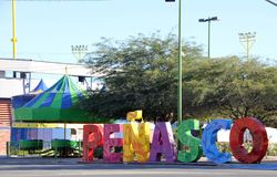Brightly coloured sign at the entrance to, Puerto Penasco, Mexico. Brightly laid out letters spelling the name Penasco as you enter the city, with Mexican art Royalty Free Stock Photos