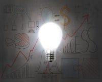 Brightly light bulb illuminated dark doodles wall Stock Photos