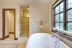 Brightly Lit Bath Tub and Shower Area Royalty Free Stock Photography