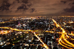 Brightly lit and busy Bangkok Night, Thailand Royalty Free Stock Photography