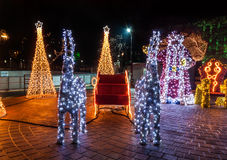 Brightly lit Christmas sled Royalty Free Stock Images