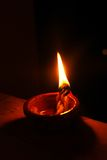 Brightly lit earthen lamp during Diwali Royalty Free Stock Photos