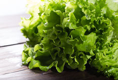 Brightly lit green lettuce leaves with water drops on brown boar. Ds. Horizontal shot Royalty Free Stock Images