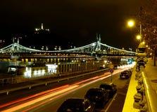 Night panorama of the Liberty bridge in Budapest stock image