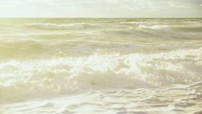Brightly lit stormy seashore. Brightly lit by the sunlight the sandy shore of the stormy sea stock video