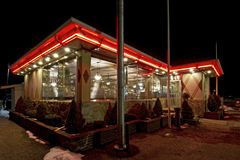 Brightly Lit Traditional Diner Restaurant Royalty Free Stock Image