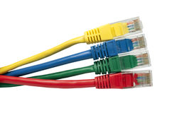 Brightly multi coloured ethernet network cables Stock Image