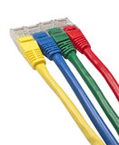 Brightly multi coloured ethernet network plugs Royalty Free Stock Photo