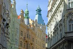"""Brightly painted building in the jewish quarter Prague. In secessionist style. Prague's Jewish Quarter """"Židovské město"""" in Czech is royalty free stock photo"""