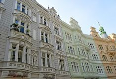 """Brightly painted building in the jewish quarter Prague. In secessionist style. Prague's Jewish Quarter """"Židovské město"""" in Czech is royalty free stock photography"""