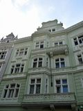 """Brightly painted building in the jewish quarter Prague. In secessionist style. Prague's Jewish Quarter """"Židovské město"""" in Czech is royalty free stock image"""