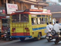 Brightly painted bus India. Stock Photo