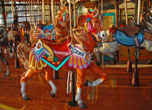 Brightly painted carousel horse Stock Images