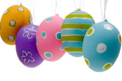Brightly painted Easter Egg Decorations. Brightly colored Easter Egg Decorations on white background stock image