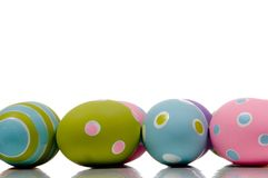 Brightly painted Easter Egg Decorations. Brightly colored Easter Egg Decorations on white background royalty free stock photos