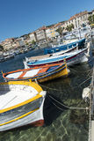 Brightly painted fishing boats La Ciotat harbour Stock Photos
