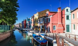 Brightly painted houses of Burano Island. Venice. Italy Stock Photos