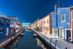 Brightly painted houses of Burano Island. Venice. Italy. Royalty Free Stock Images