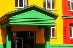 Brightly painted porch of the building royalty free stock photo