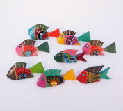 Brightly Painted Wooden Fish Stock Images