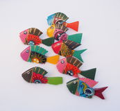 Brightly Painted Wooden Fish Stock Photography