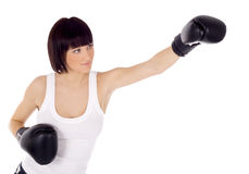 Brightly picture of woman in boxing gloves Royalty Free Stock Images