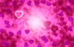 Brightly pink hearts on a beautiful sparkling background. Valentine`s Day. Brightly pink hearts on a beautiful sparkling background. Valentine`s Day Royalty Free Stock Images