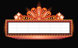 Brightly theater glowing orange retro cinema neon sign Royalty Free Stock Image