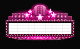 Brightly theater glowing pink retro cinema neon sign stock illustration