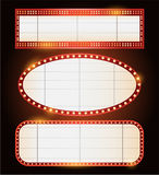 Brightly theater glowing retro cinema neon sign Royalty Free Stock Photos