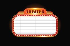 Brightly theater glowing retro cinema neon sign Stock Images