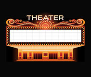 Brightly theater glowing retro cinema neon sign Royalty Free Stock Photo