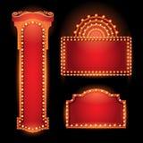 Brightly theater glowing retro cinema neon sign Stock Photos