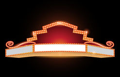 Brightly theater glowing retro cinema neon sign. Brightly theater glowing retro vintage cinema neon sign Stock Photography
