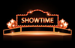 Brightly theater glowing retro cinema neon sign Stock Photography