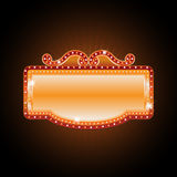 Brightly theater glowing retro cinema neon sign Stock Photos