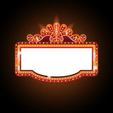 Brightly theater glowing retro cinema neon sign Royalty Free Stock Images