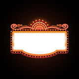 Brightly theater glowing retro cinema neon sign Stock Photo